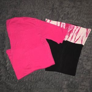 EXPRESS Pink Tie-Dye Yoga Set Medium